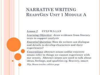 ReadyGen  Writing Unit 1 Module A grade 5  lessons 1-18