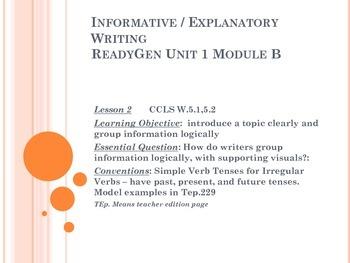 ReadyGen Writing Unit 1 Module  B grade 5 lessons 1-18