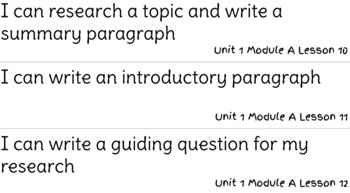 ReadyGen Writing Unit 1 Modules A&B I Can Statements