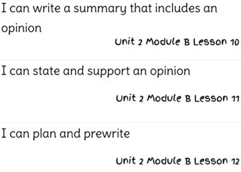 ReadyGen Writing Unit 2 Modules A&B I Can Statements