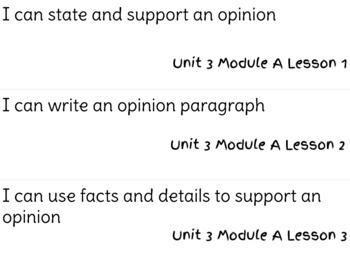 ReadyGen Writing Unit 3 Modules A&B I Can Statements
