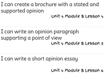 ReadyGen Writing Unit 4 Modules A&B I Can Statements