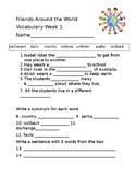 """ReadyGen's """"Friends Around the World"""" Vocabulary Wk 1-4"""