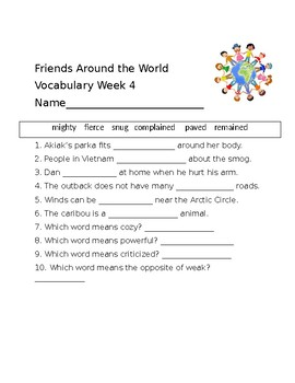 "ReadyGen's ""Friends Around the World"" Vocabulary Wk 1-4"