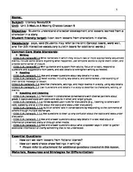 Readygen 2014 Grade 1 Module 3A lesson 9 Writing lesson plan Lemonade in Winter