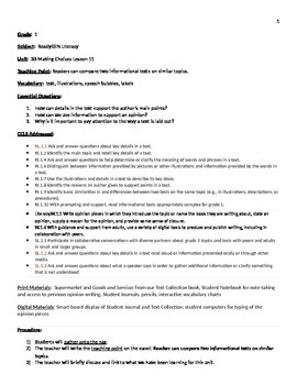 Readygen 2014 Grade 1 Module 3B lesson 11 lessonplan Super