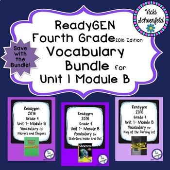 Readygen Grade 4 Unit 1 Module B Vocabulary Bundle
