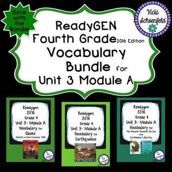 Readygen Grade 4 Unit 3 Module A Vocabulary Bundle
