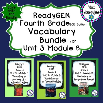 Readygen Grade 4 Unit 3 Module B Vocabulary Bundle