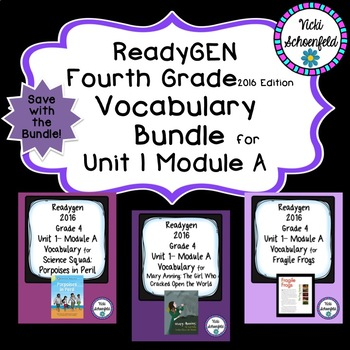 Readygen Grade 4 Unit 1 Module A Vocabulary Bundle