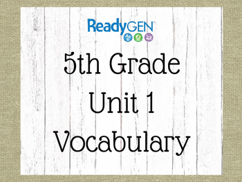Readygen Vocabulary