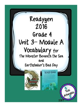 Readygen Vocabulary Grade 4 Earthshaker's Bad Day and Monster Beneath the Sea