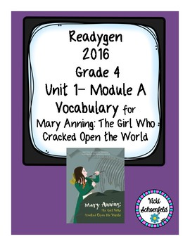 Readygen Vocabulary for Mary Anning: The Girl Who Cracked Open the World