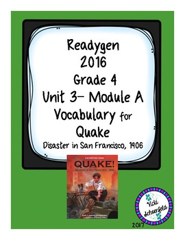 Readygen Vocabulary for Quake Disaster in San Francisco