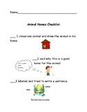 Readygen kindergarten unit 1 B performance task  checklist animal homes
