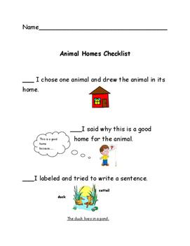 Readygen kindergarten unit 1 B performance task  checklist animal homes