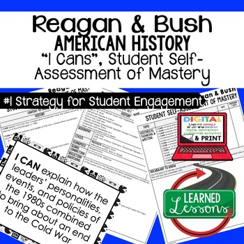 Reagan and Bush I Cans Student Self Assessment Mastery-- A
