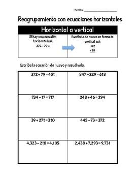 Reagrupamiento con ecuaciones horizontales