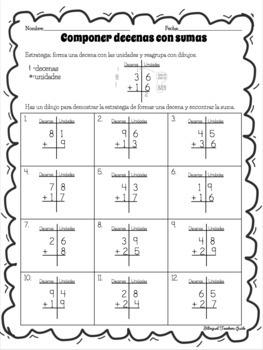 Reagrupar y componer decenas para sumar/Spanish regrouping addition