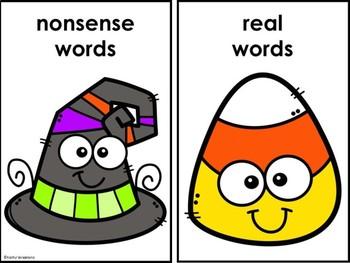 Real And Nonsense Word Sort Halloween Theme