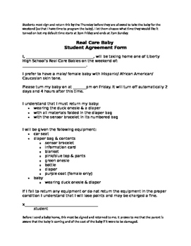 Real Care Baby Parent & Student Agreement Forms