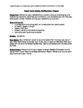 Real Care Baby Reflection Paper Outline & Grade Slips