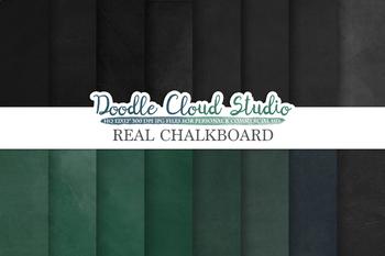 Real Chalkboard digital paper, Green / Back chalkboard Backgrounds,