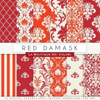 Red Damask Digital Paper, scrapbook backgrounds