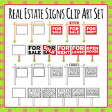 Real Estate Signs - For Sale, For Rent, Sold Etc Clip Art Set for Commercial Use