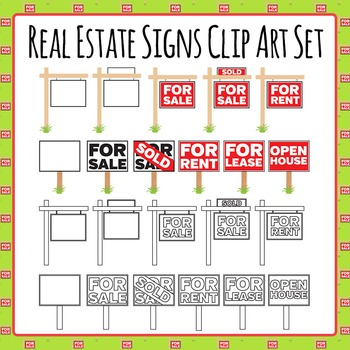 Real Estate Signs - For Sale, For Rent, Sold Etc Clip Art
