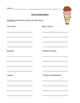 Categories and Real-Life Connections Worksheet or Homework with Answer Key
