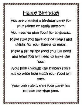 Real Life Math: Birthday Party Planning