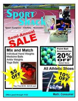 Real Life Math:  Consumer math Sport Shack
