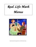 Real Life Math:  Menus