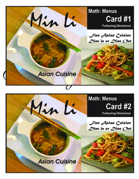 Real Life Math:  Min Li Restaurant Menu