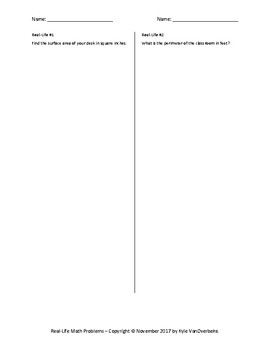 Real-Life Math Problems - Half Sheets