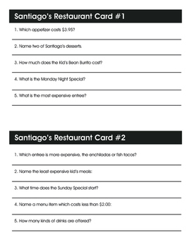 Real Life Math:  Santiago Restaurant Menu Math