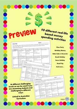 Real Life Money Shopping Tasks including Rubric - Maths
