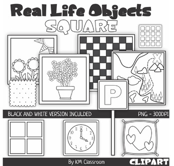 Real Life Objects 2D Shape Square Line Art ClipArt