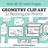 Real Life Objects Clip Art: 12 Regtangular Prisms 2D & 3D Solid – Commercial