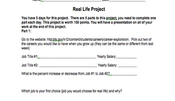 Real Life Percent, Interest, Rate, Project