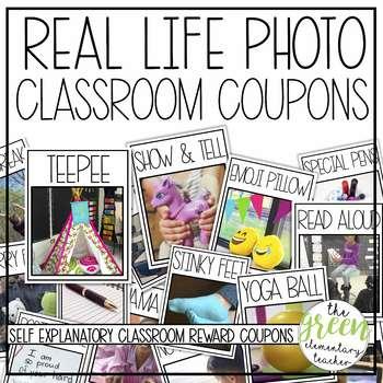 Real Life Photo Classroom Reward Coupons EDITABLE