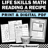 Life Skills Math Worksheets Reading a Recipe Comprehension Special Education