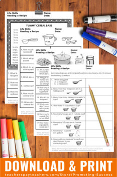Life Skills Special Education Math, Reading a Recipe, Measuring Cups Spoons