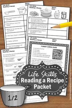 life skills special education math reading a recipe measuring cups spoons. Black Bedroom Furniture Sets. Home Design Ideas