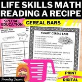 Reading a Recipe Life Skills Special Education Math Digital Activities Printable