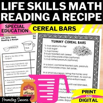 Life Skills Math Worksheets Reading a Recipe Special Educa