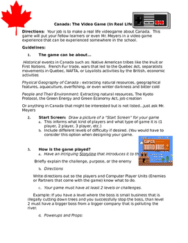 Real Life Video Game: Universal template (with Canadian examples)