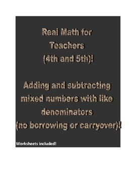 Real Math for 4th and 5th Grade Teachers