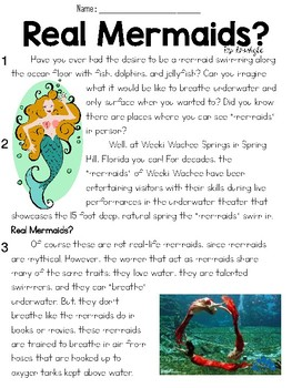 Real Mermaids? Text and Question Set - FSA/PARCC-Style Assessment